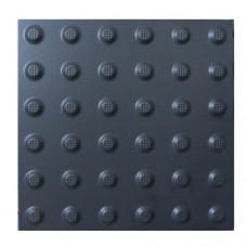 Тактильная плитка керамическая предупреждающая чёрная ПТК-04 300х300