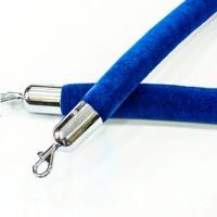 Синий бархатный канат 1,5м диаметр 40мм (серебро)