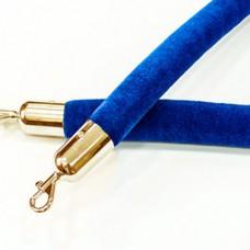 Синий бархатный канат 1,5м диаметр 40мм с карабинами под золото