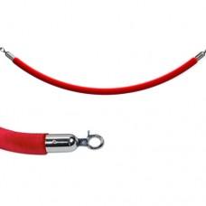 Красный велюровый канат 1,5м диаметр 32мм - серебро